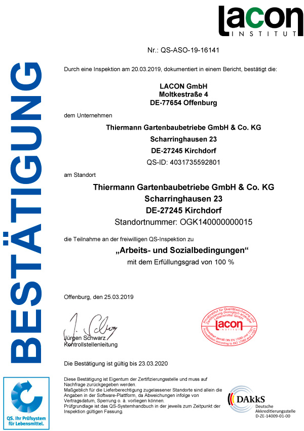 QS-ASO Zertifikat 2019 Thiermann Gartenbaubetriebe